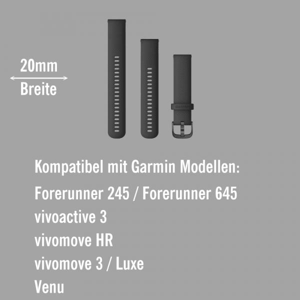 Garmin Schnell-Wechsel Silikon Armband 20mm Schwarz / Schnalle Schiefergrau + Einstellband L bei CardioZone online kaufen