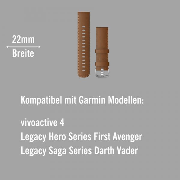 Garmin Schnell-Wechsel Leder Armband 22mm Braun - mit Naht Schnalle Silber bei CardioZone online kaufen
