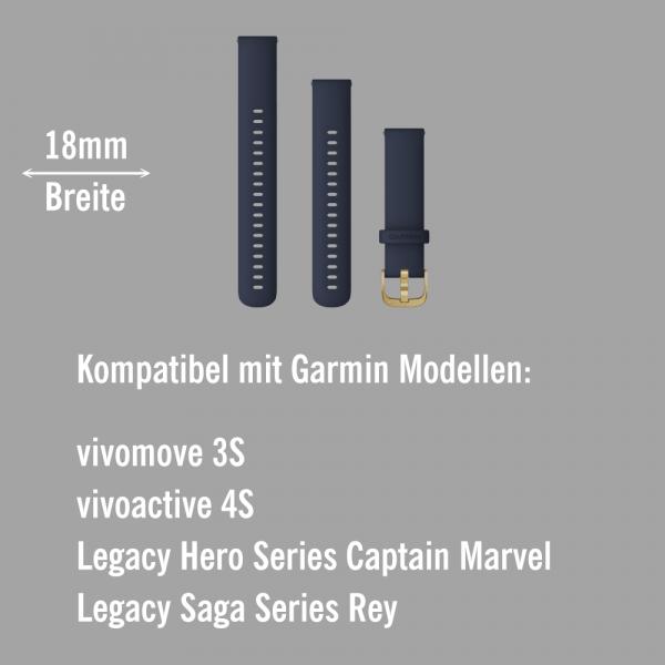 Garmin Schnell-Wechsel Silikon Armband 18mm Blau - Schnalle Hellgold bei CardioZone online kaufen