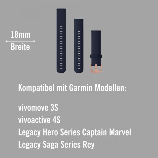 Garmin Schnell-Wechsel Silikon Armband 18mm Blau / Schnalle Rosegold + Einstellband L bei CardioZone online kaufen