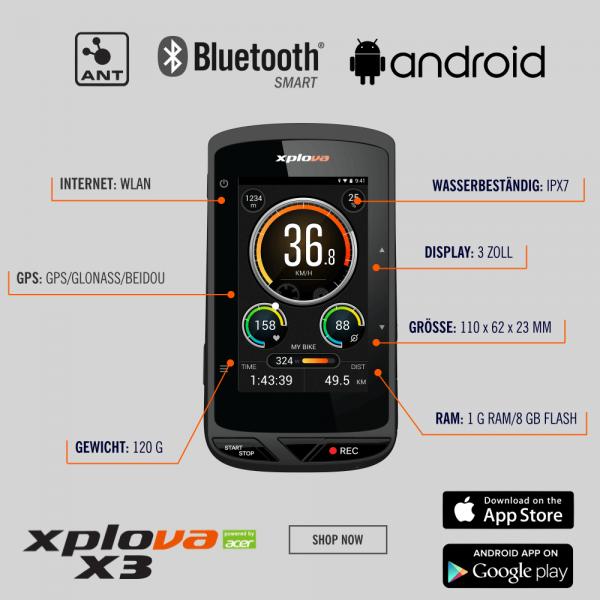 Xplova X5 GPS Fahrradcomputer mit integrierter Action-Cam, Farbdisplay und  Kartennavigation bei CardioZone günstig online kaufen
