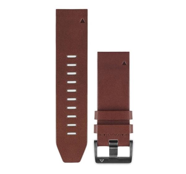 Garmin Quickfit Leder Armband 22mm Braun / Schnalle in Schiefergrau