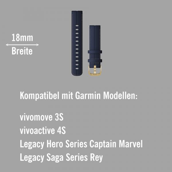 Garmin Schnell-Wechsel Leder Armband 18mm Blau - Schnalle Hellgold bei CardioZone online kaufen