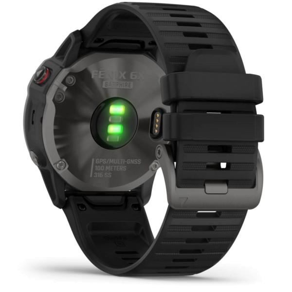 Garmin fenix6X SAPHIR Schiefergrau DLC - Armband Schwarz bei CardioZone günstig online kaufen
