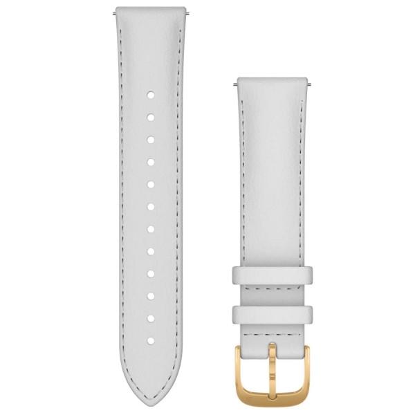 Garmin Schnell-Wechsel Leder Armband 20mm Weiss / 24K-Gold-PVD-Teile bei CardioZone online kaufen