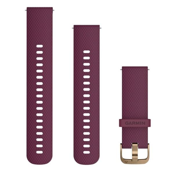 Garmin Schnell-Wechsel 20mm Silikon-Armband Weinrot / Schnalle Gold bei CardioZone günstig online kaufen