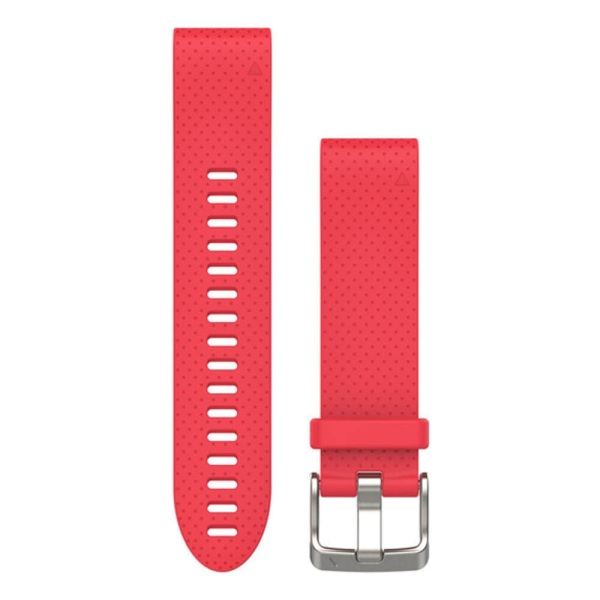 Garmin Quickfit Silikon Armband 20mm Gr. S/M Pink perforiert / Schnalle in Silber