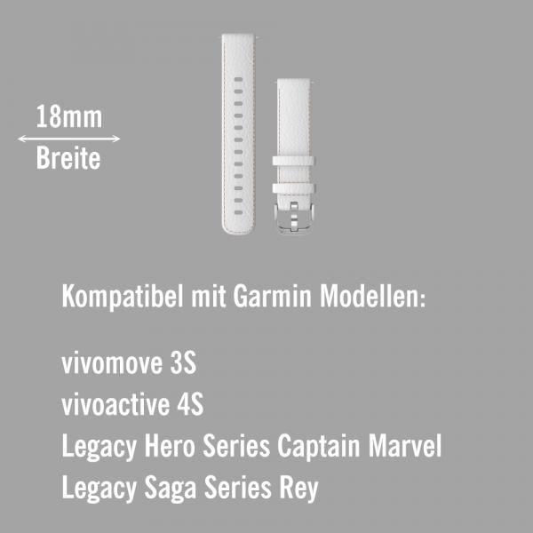 Garmin Schnell-Wechsel Leder Armband 18mm Weiss - Schnalle Silber bei CardioZone online kaufen