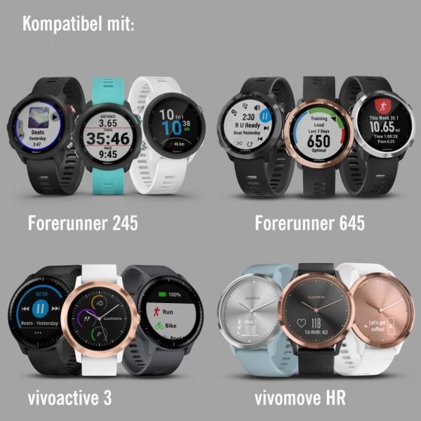 Garmin Forerunner 245 Schnell-Wechsel 20mm Silikon-Armband Dunkelrot / Schnalle Grau bei CardioZone günstig online kaufen