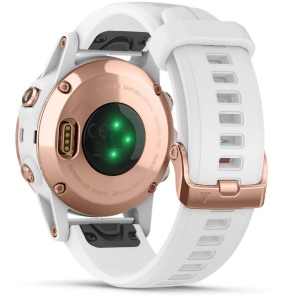 Garmin fenix5S Plus Saphir Roségold GPS Multisportuhr mit weißem Armband bei CardioZone guenstig online kaufen