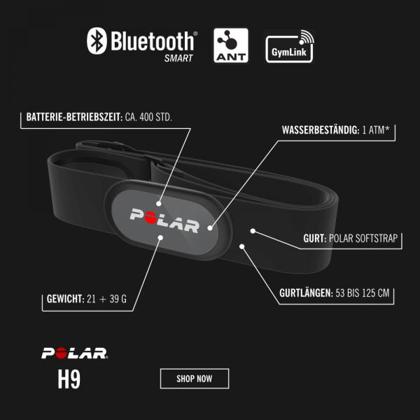 POLAR H9 Bluetooth Smart & ANT+ Herzfrequenz Sender Schwarz bei CardioZone günstig online kaufen