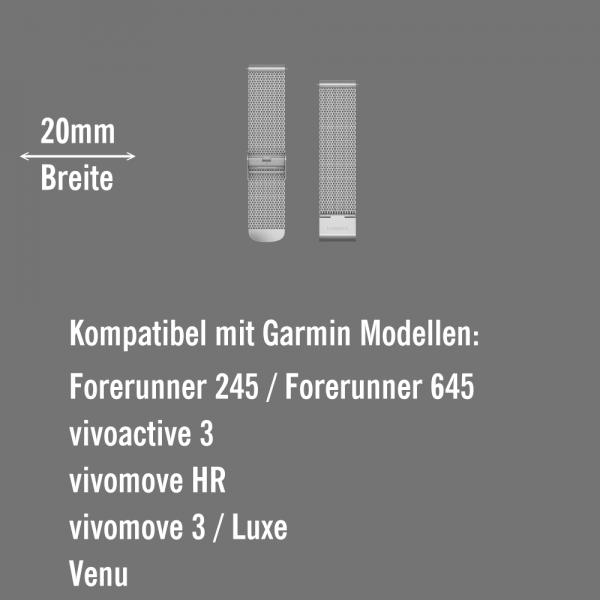 Garmin Schnell-Wechsel Milanaise Armband 20mm Silber / Silberne PVD-Teile bei CardioZone online kaufen