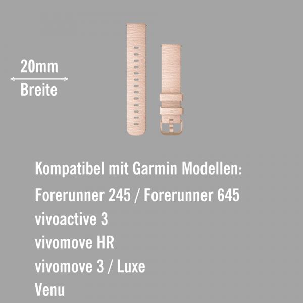 Garmin Schnell-Wechsel Nylon Armband 20mm Hellrosa gewebt / Verschluss Hellgold  bei CardioZone online kaufen