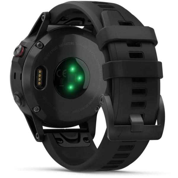 Garmin fenix5 Plus Saphir Schwarz GPS Multisportuhr mit schwarzem Armband bei CardioZone guenstig online kaufen