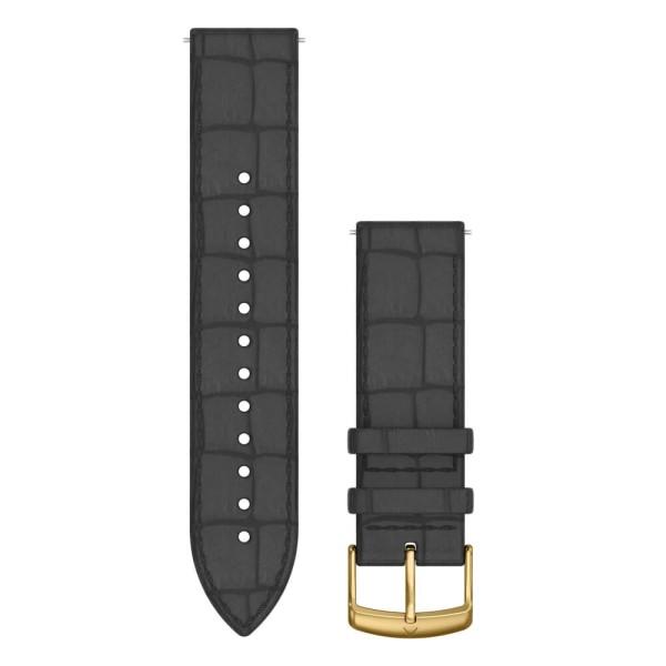 Garmin Schnell-Wechsel 20mm Leder-Armband Schwarz mit Kroko-Prägung / Schnalle Gold bei CardioZone günstig online kaufen