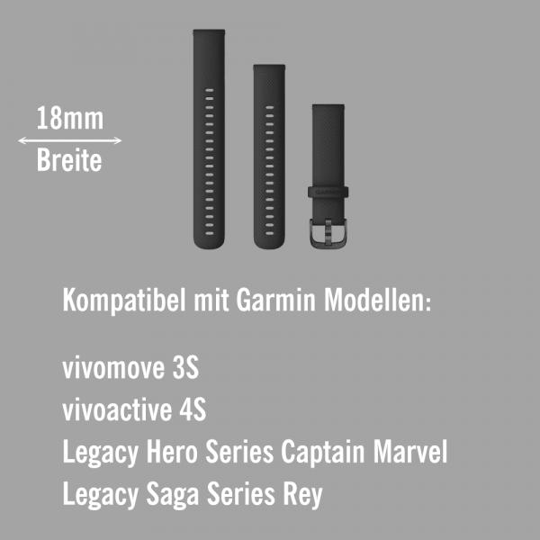 Garmin Schnell-Wechsel Silikon Armband 18mm Schwarz / Schiefergrau + Einstellband L bei CardioZone online kaufen